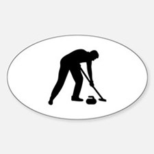 Curling player team Sticker (Oval)