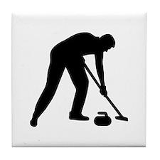 Curling player team Tile Coaster