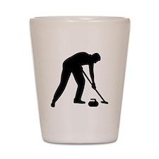 Curling player team Shot Glass