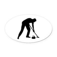 Curling player team Oval Car Magnet