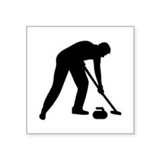 "Curling player team Square Sticker 3"" x 3"""