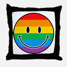 Gay Smiley Throw Pillow