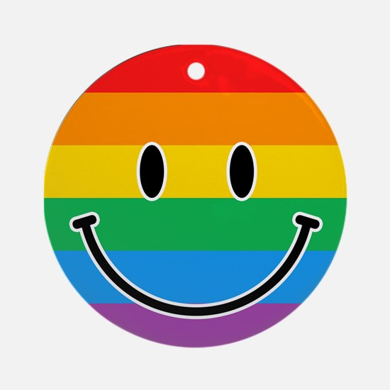 Gay Smiley Round Ornament