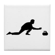 Curling player Tile Coaster
