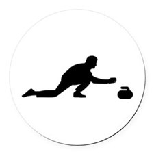 Curling player Round Car Magnet