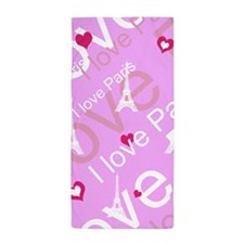 Trendy Pink I LOVE PARIS Beach Towel
