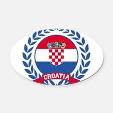 Croatia Wreath Oval Car Magnet