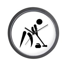 Curling player symbol Wall Clock