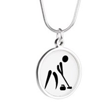 Curling player symbol Silver Round Necklace