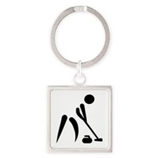 Curling player symbol Square Keychain