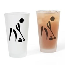 Curling player symbol Drinking Glass