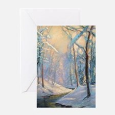 Winter brook pastel Greeting Cards
