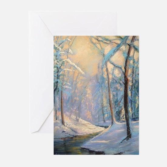 Winter brook pastel Greeting Cards