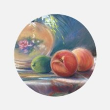 """Peaches and flowers pastel 3.5"""" Button"""