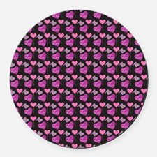 Heart of Hearts Love Pattern Round Car Magnet