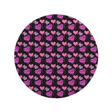 """Heart of Hearts Love Pattern 3.5"""" Button"""