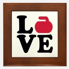 Curling love stone Framed Tile