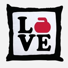 Curling love stone Throw Pillow