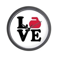Curling love stone Wall Clock