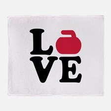 Curling love stone Throw Blanket