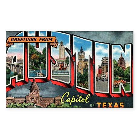 City Of Austin Postcard Rectangle Sticker