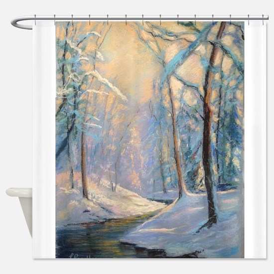 Winter brook pastel Shower Curtain