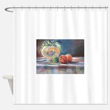 Peaches and flowers pastel Shower Curtain