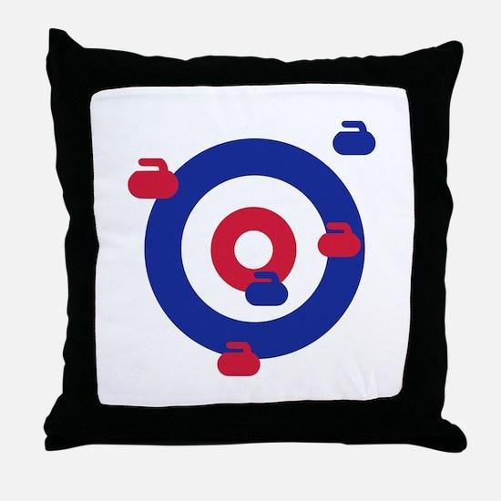 Curling field target Throw Pillow