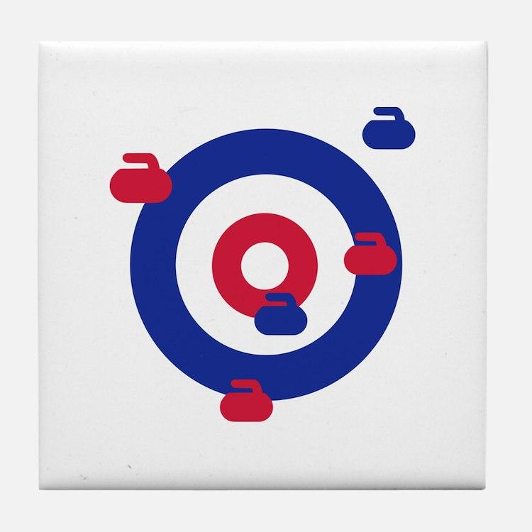 Curling field target Tile Coaster