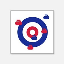 "Curling field target Square Sticker 3"" x 3"""