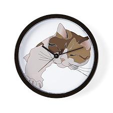 Calico Cat Sleeping Wall Clock