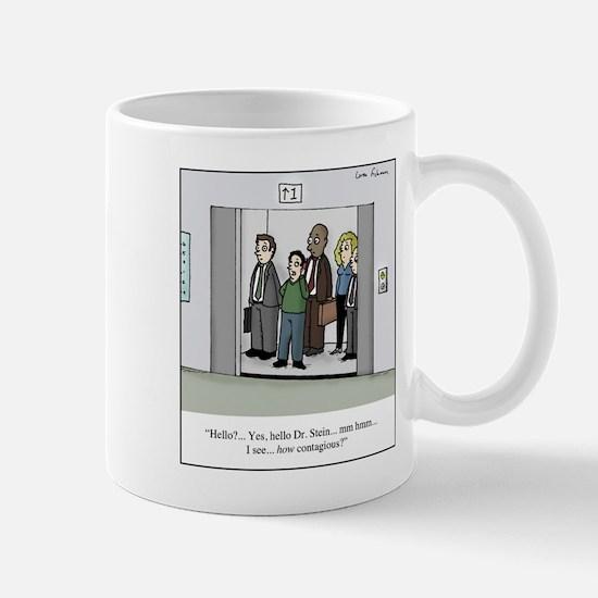 Contagious on Elevator Cartoon Mug