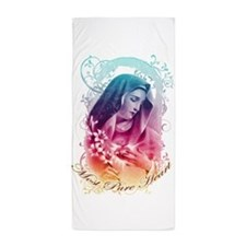 Most Pure Heart of Mary (vertical) Beach Towel