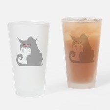 Angry Grey Cat Drinking Glass