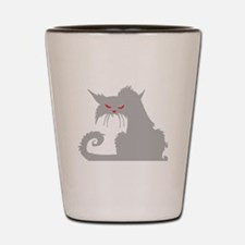 Angry Grey Cat Shot Glass