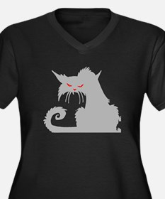 Angry Grey Cat Plus Size T-Shirt