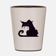 Angry Black Cat Shot Glass