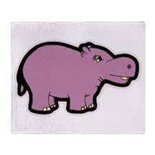 Purple Hippo Throw Blanket