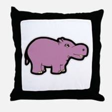 Purple Hippo Throw Pillow
