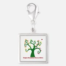 Organ Donation Tree Silver Square Charm