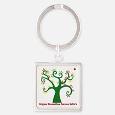 Organ Donation Tree Square Keychain