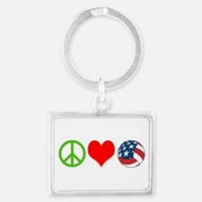 PEACE, LOVE, VOLLEYBALL (USA) Landscape Keychain