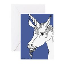 Blue Interested Unicorn Greeting Cards (Package of
