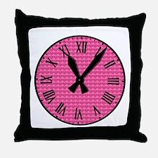 Pink hearts clock Throw Pillow