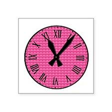 "Pink hearts clock Square Sticker 3"" x 3"""