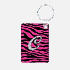 HOT PINK ZEBRA SILVER C Keychains