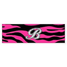 HOT PINK ZEBRA SILVER B Bumper Bumper Sticker