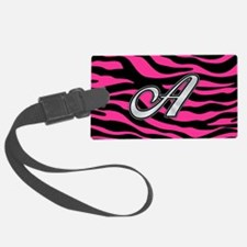 HOT PINK ZEBRA SILVER A Luggage Tag