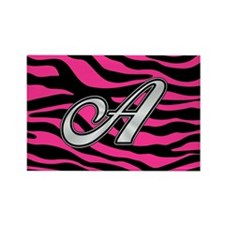 HOT PINK ZEBRA SILVER A Magnets