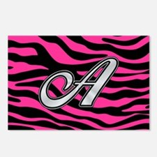 HOT PINK ZEBRA SILVER A Postcards (Package of 8)
